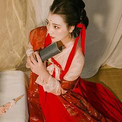 轻汉坊(红尘)襦裙烫金软四米裙摆两片式裙子