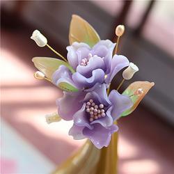 花朝节特辑 紫色山茶花料器花簪发簪 汉服配饰
