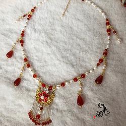 归来酒原创  淡水珍珠红玛瑙软璎珞  汉服配饰古典古风中国风项链