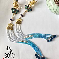 【栖翠羽】归来酒原创 对夹边夹发冠两用 华丽风烧蓝天然珍珠