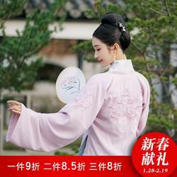 【方舆】鹤童与梦花朝记汉服原创印花设计对襟刺绣合领衫裙粉蓝日