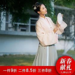 【方舆】鹤童与梦花朝记汉服原创印花设计对襟刺绣合领衫裙黄绿日
