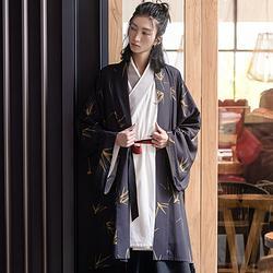 重回汉唐 竹烟 原创汉服男印花改良日常汉元素对襟衫外套中国风