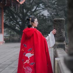 轻汉坊(和合生福)原创设计斗篷汉服双面呢重工刺绣秋冬款