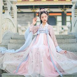 汉尚华莲锦宫传统汉服女装高腰刺绣齐胸襦裙6米大摆显瘦日常春夏