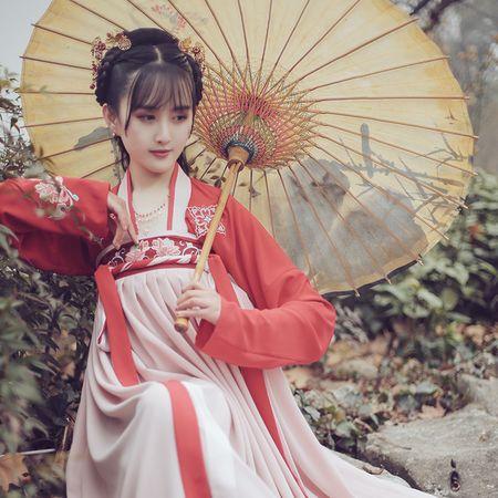 菩提:莲瑟 池夏原创设计改良汉服齐胸襦裙套装莲花刺绣 早春款