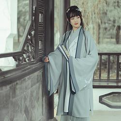 仑灵: 青 池夏原创设计改良汉服 大袖褙子长衫百迭裙 白鹭早春款