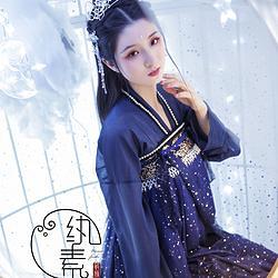 【星如月】纨素 绣花钉珠亮片星空两片式齐胸 汉服