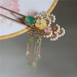 松枝发钗 经典绿玛瑙戒面铸铜手作唯美仙气长流苏簪汉服发饰