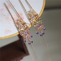 经典仿古铸铜保色金四君子古风发钗 蓝紫渐变琉璃珠流苏对钗