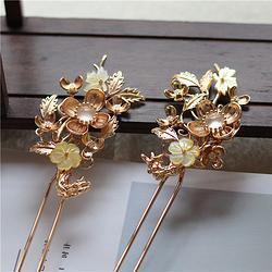 铸厚铜保色金花枝水沫子古典汉服发簪 黄贝枫叶双股发钗对钗