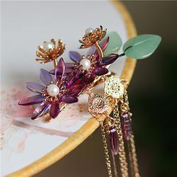 紫红渐变小清新雏菊花朵百搭发饰长流苏飘逸边夹对夹发夹汉服头饰