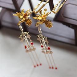 古典古风发簪立体铸铜凤凰簪子超长叶子流苏天然珍珠步摇汉服头饰