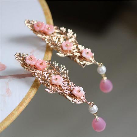 简约铜镀金树枝小发夹 粉色少女风可爱小流苏古风边夹对夹