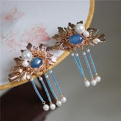 手工蓝玛瑙戒面日本米珠流苏发夹汉服配饰中式古风发饰