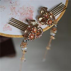 原创手工枫叶长流苏发梳水沫子铜镀金银杏叶发饰汉服头饰