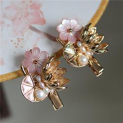 桃花粉贝壳花朵 实用古典手作发夹荷叶荷花铸铜铜镀金发饰