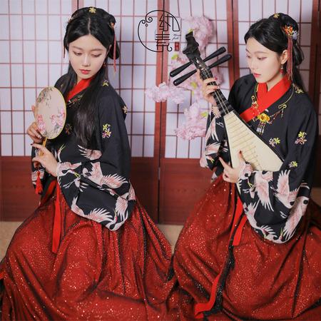 【售罄】【鹤迎】纨素黑色仙鹤印花单层衫洒金褶裙套汉服