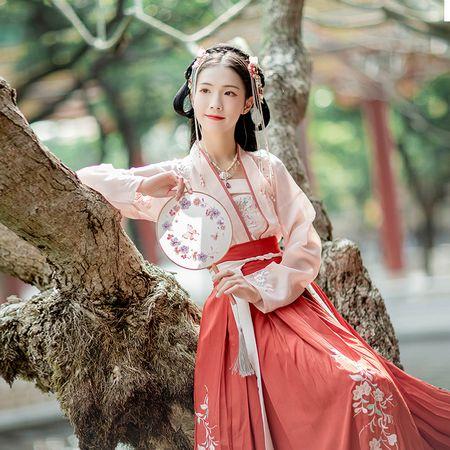汉尚华莲知夏传统大摆汉服女装绣花齐腰对襟襦裙中国风日常春夏装