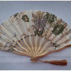 【棠樾古风】菜籽色繁花原竹色龙形扇不定位花裁剪七寸绢布折扇