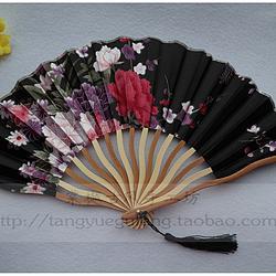 【棠樾古风】黑色繁花原竹色龙形扇不定位花裁剪七寸绢布折扇