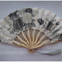 【棠樾古风】灰色繁花原竹色龙形扇不定位花裁剪七寸绢布折扇 编