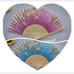 【天蓝色/若紫色】棠樾古风原竹骨金叶白繁花小清新七寸绢布折扇