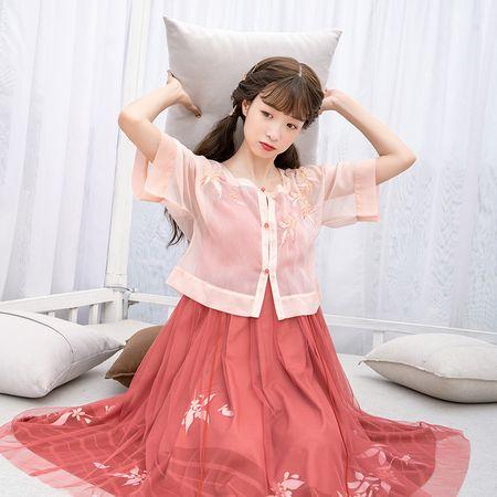 鹿韵记原创改良汉服女秋分中国风坦领套装汉元素学生日常古风女装