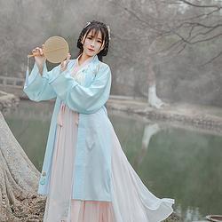 菩提:语禅 池夏原创设计 改良汉服中国风褙子交领衫褶裙套装