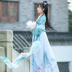如梦霓裳汉服女齐胸襦裙披帛鹿鸣3.5米印花日常配饰