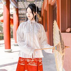 曼珠沙华:洛烬池夏原创设计 改良汉服立领对襟彼岸花提花短衫长衫