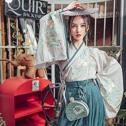 都城南庄汉服 空青 原创新品时尚日常绣花大袖交领齐腰襦裙