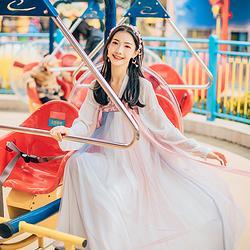 汉尚华莲原创传统汉服女装蓝璃高腰齐胸襦裙刺绣日常清新春夏款
