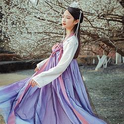 山鬼:霜夜 池夏原创彩粉烫金渐变星空刺绣改良齐胸襦裙 6米4.5米