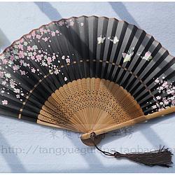 【蝶恋粉花】中国风小清新蝶恋粉花印花七寸日用折扇