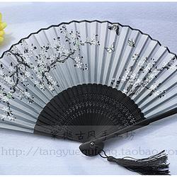 【蝶恋繁花】中国风黑色点绿繁花蝶恋花印花七寸日用折扇