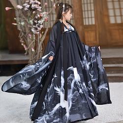 如梦霓裳汉服女装大袖衫齐胸襦裙重明二水墨印花六米摆原创新款
