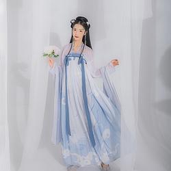 汉尚华莲原创汉服画壁印花对襟高腰齐胸襦裙性价比套装日常春夏款