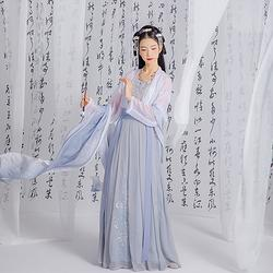 汉尚华莲白秋练传统汉服刺绣吊带背心一片式穿孔褶裙日常春夏装