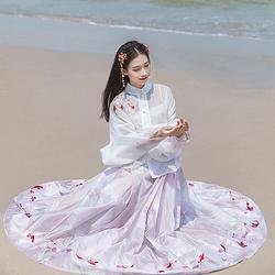 汉尚华莲逍遥传统汉服女装立领上衣搭配刺绣马面裙日常春夏