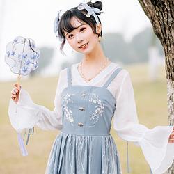 【流烟昔泠-时夏】改良汉服女汉元素雪纺主腰吊带绣花连衣裙蕾丝