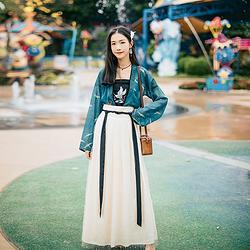 汉尚华莲传统汉服女装宋幕齐腰对襟襦裙绣花套装日常时尚风春夏款