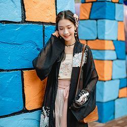 汉尚华莲十梦原创汉服女装刺绣黑色褙子上衣搭配跨裤套装日常春款