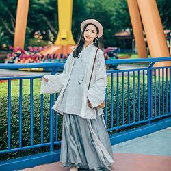 汉尚华莲羽竺原创传统汉服女装刺绣上衣褙子跨裤三件套日常春夏款