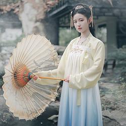 仑灵:玫儿 池夏原创设计改良汉服渐变色齐胸襦裙套装玫瑰刺绣春款