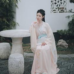 仑灵:解语 池夏原创设计改良汉服齐腰襦裙 披风套装海棠刺绣 春款