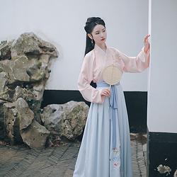 仑灵:桃儿 池夏原创设计改良交领齐腰襦裙套装桃花刺绣 春款