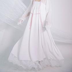 流烟昔泠 齐胸衬裙 齐腰衬裙 内搭传统原创白色蕾丝裙摆衬裙非古