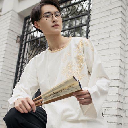 重回汉唐远苍圆领衫汉服男中国风长袖衬衫宽松春夏季