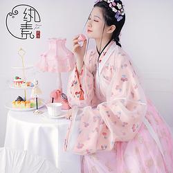 【樱桃牛奶】纨素 樱桃印花晋襦六米摆褶裙四件套 汉服华服